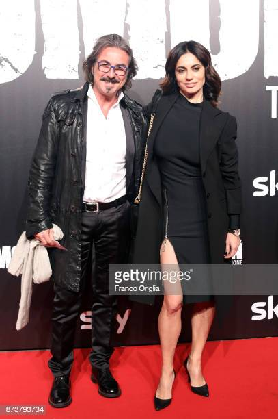 Rossella Brescia and a guest attend the 'Gomorra' premiere at Ex Dogana on November 13 2017 in Rome Italy