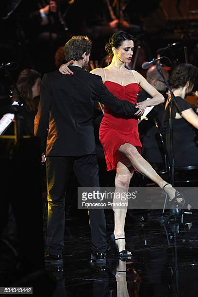Rossella Brescia and Gabriele Rossi perform at Bocelli and Zanetti Night on May 25 2016 in Rho Italy