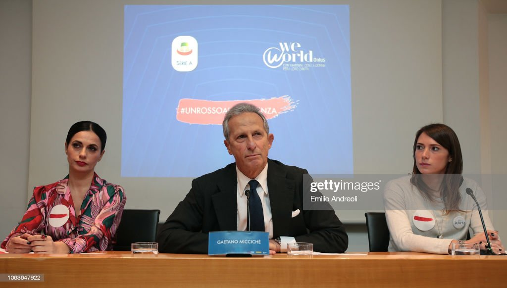 Lega Serie A 'Un Rosso Alla Violenza' Press Conference : News Photo