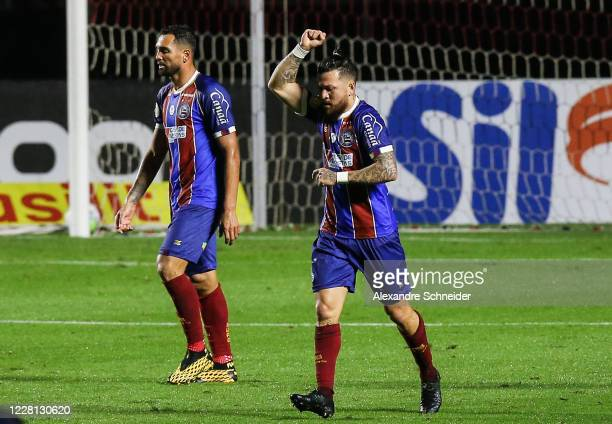 Rossi of Bahia celebrates after scoring the first goal of his team during the match between Sao Paulo and Bahia as part of the 2020 Brasileirao...