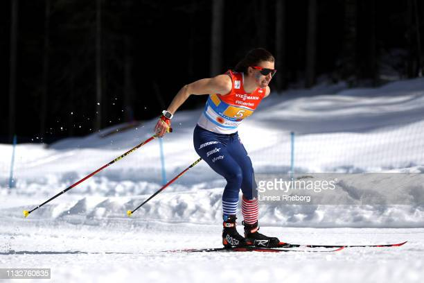 Rossie Brennan of The United States during the 4x5km Women's Cross Country Relay at the FIS Nordic World Ski Championships on February 28 2019 in...