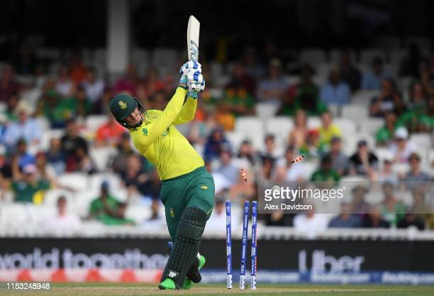 Rossie van der Dussen of South Africa is bowled by Mohammad Saifuddin of Bangladesh during the Group Stage match of the ICC Cricket World Cup 2019...