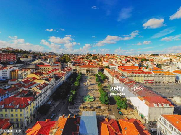 rossio square cityscape lisbon portugal aerial - portugal stock pictures, royalty-free photos & images