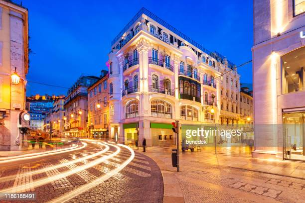rossio square in downtown lisbon portugal - lisbon stock pictures, royalty-free photos & images