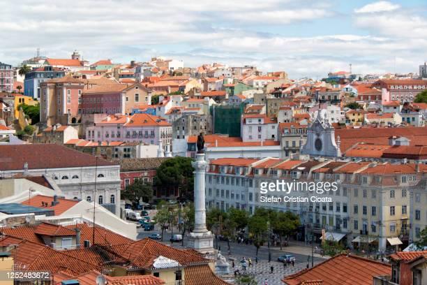 rossio square, lisbon, portugal - ロッシオ広場 ストックフォトと画像