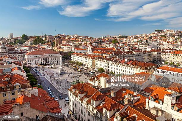 rossio square, praca dom pedro iv, lisbon - monument stock pictures, royalty-free photos & images
