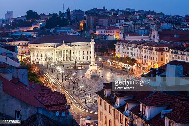 rossio square praca dom pedro iv, lisbon - ロッシオ広場 ストックフォトと画像