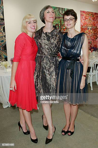 Rosson Crow and Honor Fraser pose with artist Alexandra Grant at a dinner hosted by Vogue and Mulberry celebrating the work of Alexandra Grant on...