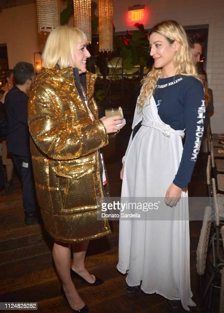 Rosson Crow and Ioanna Gika attend Liz Goldwyn and MATCHESFASHIONCOM celebrate the launch of Frieze LA at Gracias Madre on February 13 2019 in West...
