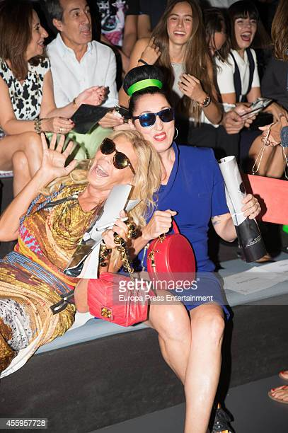 Rossy de Palma and Bibiana Fernandez attend Mercedes Benz Fashion Week Madrid at Ifema on September 14 2014 in Madrid Spain