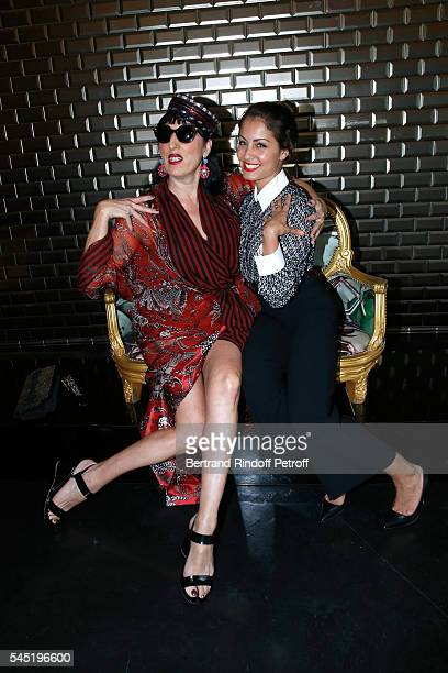 Rossy de Palma and Hiba Abouk attend the Jean Paul Gaultier Haute Couture Fall/Winter 20162017 show as part of Paris Fashion Week on July 6 2016 in...