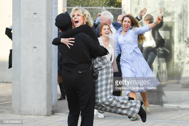 Rossy De Palma and Jane Fonda attend the shooting of French short blackandwhite silent documentary film 'La Sortie de l'Usine' directed by Daniele...