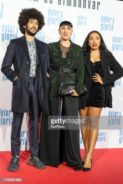 Rossy de Palma and sons Gabriel and Luna attend the 'Dolor y Gloria' premiere at Capitol cinema on March 13 2019 in Madrid Spain