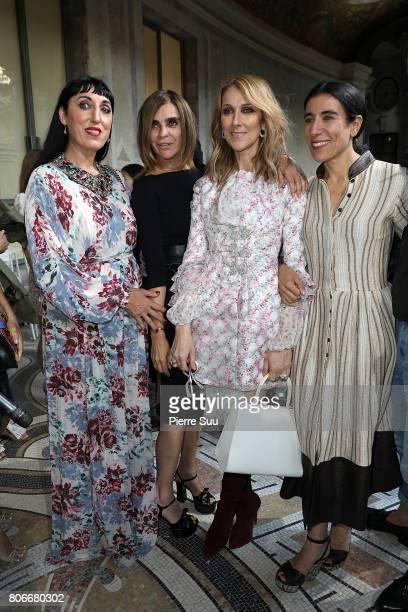 Rossy De Palma Carine Roitfeld Celine Dion and Bianca Li attend the Giambattista Valli Haute Couture Fall/Winter 20172018 show as part of Haute...