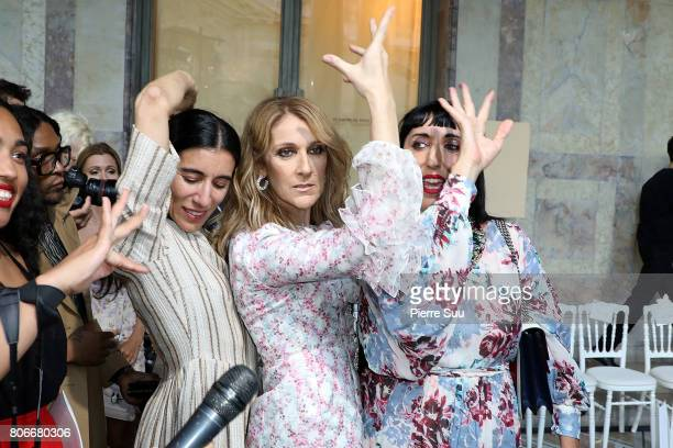 Rossy De Palma Celine Dion and Bianca Li attend the Giambattista Valli Haute Couture Fall/Winter 20172018 show as part of Haute Couture Paris Fashion...