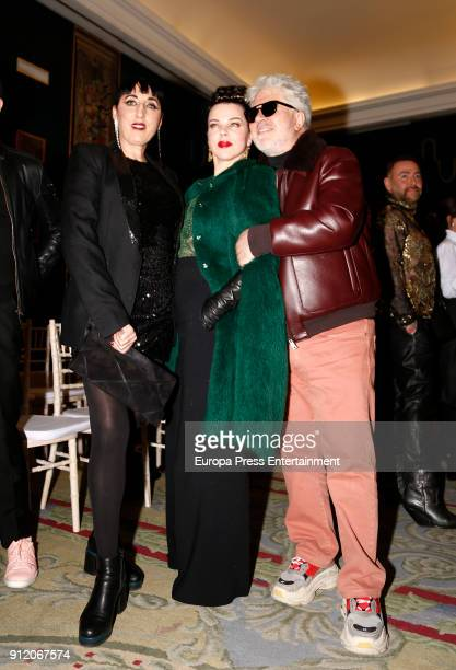 Rossy de Palma Debi Mazar and Pedro Almodovar attend the front row of Palomo Spain show during Mercedes Benz Fashion Week Madrid Autumn / Winter 2018...