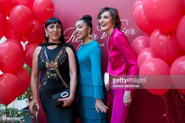 Rossy de Palma her daughter Luna Lionne and Ines de la Fressange attend 'Roger Vivier Loves Madrid' party at Palacio Fernan Nunez on June 12 2018 in...