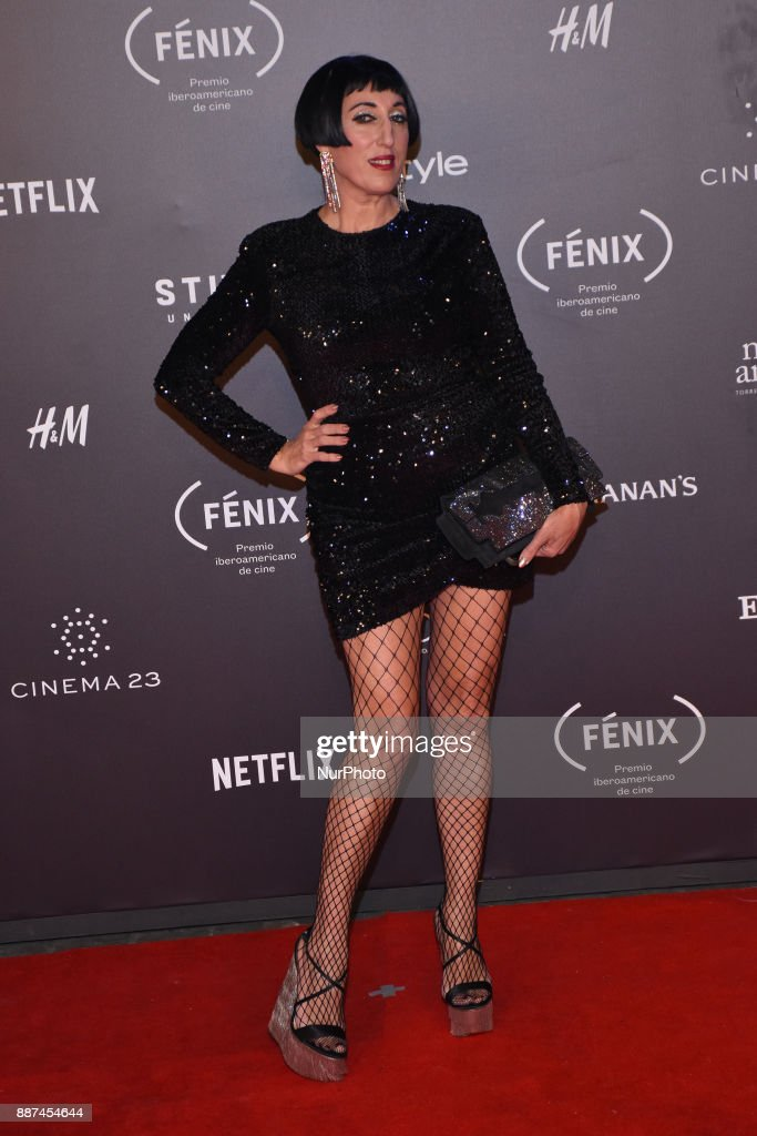 Rossy de Palma is seen arriving at red carpet of Fenix Film Awards on December 06, 2017 in México City, Mexico