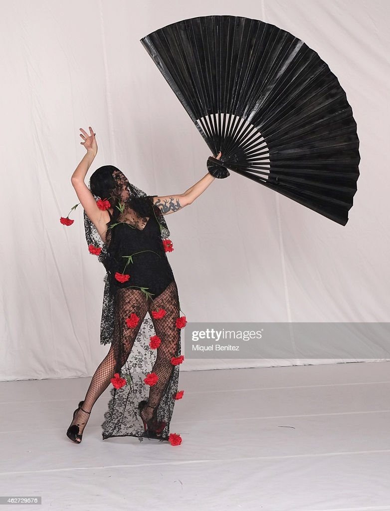 Rossy de Palma poses for Ruven Afanador during his photo shoot as part of the '080 Barcelona Fashion Week 2015 Fall/Winter' at the Museu Maritim of Barcelona on February 3, 2015 in Barcelona, Spain.