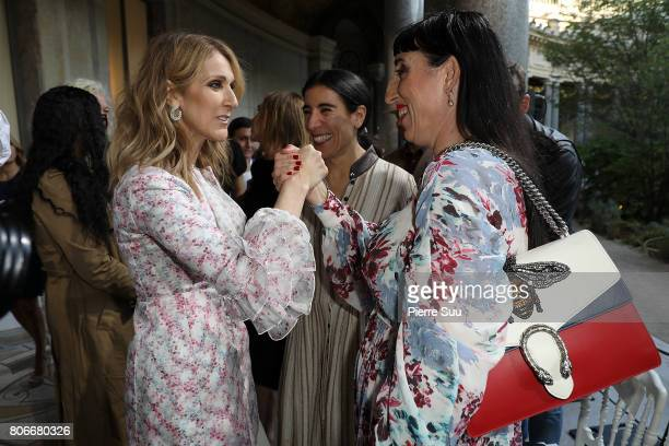 Rossy De PalmaCeline Dion and Bianca Li attend the Giambattista Valli Haute Couture Fall/Winter 20172018 show as part of Haute Couture Paris Fashion...