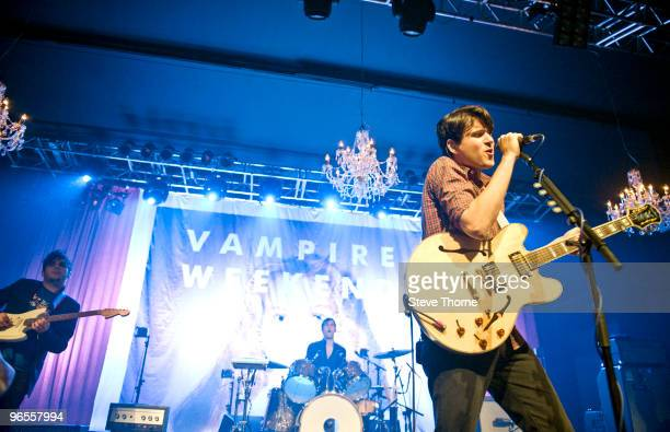 Rostam Batmanglij Chris Tomson and Ezra Koenig of Vampire Weekend perform on stage at O2 Academy on February 10 2010 in Birmingham England