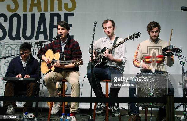 Rostam Batmanglij Ezra Koenig Chris Baio and Chris Tomson of the band Vampire Weekend perform at Barnes Noble Union Square on January 21 2010 in New...