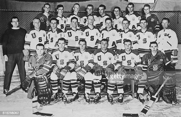Roster of the US Olympic Ice Hockey Squad Front row left to right Harry C Batchelder Jr Herbert P Brooks Richard O Meredith Richard J Burg Larry R...