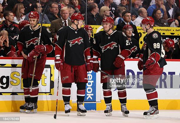 Rostislav Klesla Lauri Korpikoski Cal O'Reilly and Mikkel Boedker of the Phoenix Coyotes during the NHL game against the Vancouver Canucks at...