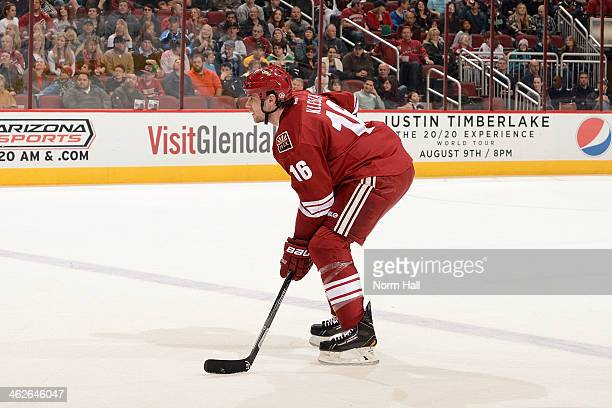 Rostislav Klesla of the Phoenix Coyotes gets ready during a faceoff against the Columbus Blue Jackets at Jobingcom Arena on January 2 2014 in...