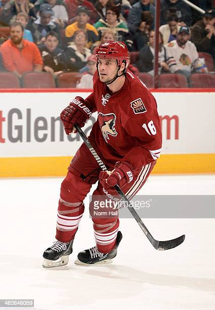 Rostislav Klesla of the Phoenix Coyotes skates up ice while looking for the puck against the Columbus Blue Jackets at Jobingcom Arena on January 2...