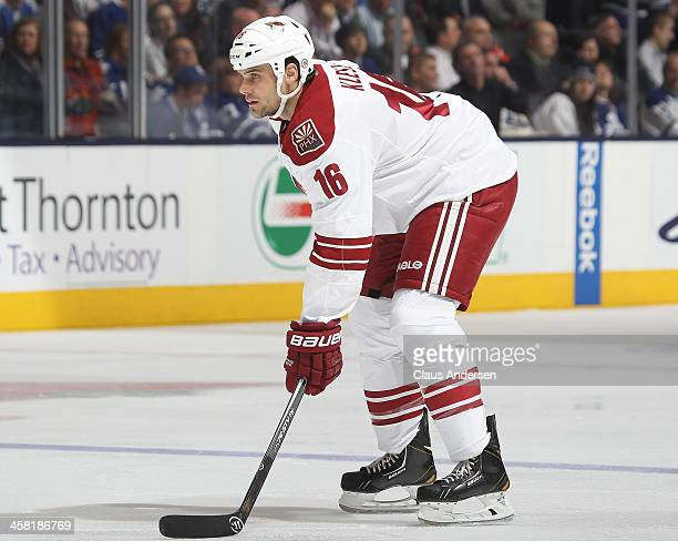 Rostislav Klesla of the Phoenix Coyotes waits for a faceoff against the Toronto Maple Leafs during an NHL game at the Air Canada Centre on December...
