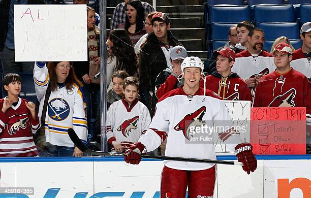 Rostislav Klesla of the Phoenix Coyotes warms up to play the Buffalo Sabres at First Niagara Center on December 23 2013 in Buffalo New York