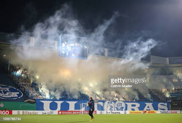 Rostock fans show their support during the DFB Cup second round match between Hansa Rostock and 1 FC Nuernberg at Ostseestadion on October 31 2018 in...