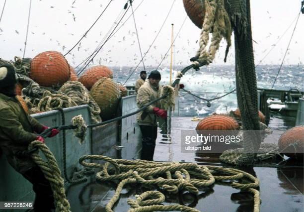 Rostock / Fischfang / Hochseefischerei / Februar 1977 / An Deck des Transportund Verarbeitungsschiffes Junge Welt wird ein ÜbergabeSteert an Bord...