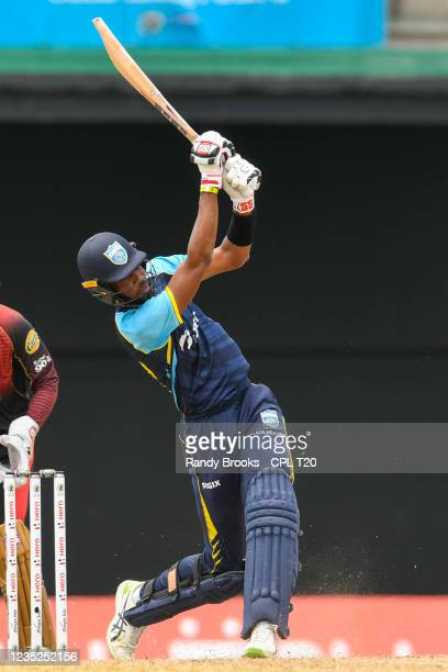 Roston Chase of Saint Lucia Kings hits 4 during the 2021 Hero Caribbean Premier League Play-Off match 31 between Saint Lucia Kings and Trinbago...