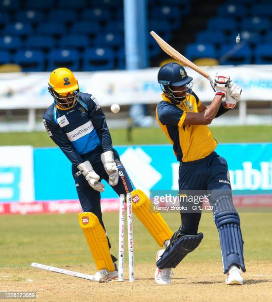 Roston Chase of St Lucia Zouks bowled by Hayden Walsh Jr. Of Barbados Tridents during the Hero Caribbean Premier League match 19 between Barbados...