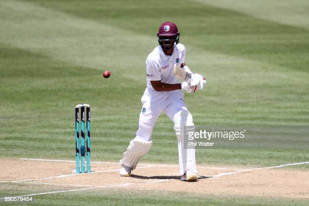 Roston Chase of the West Indies bats during day four of the Second Test Match between New Zealand and the West Indies at Seddon Park on December 12...