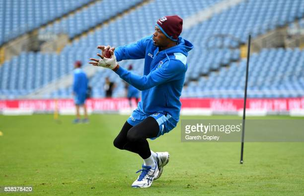 Roston Chase of the West Indies catches during a nets session at Headingley on August 24 2017 in Leeds England