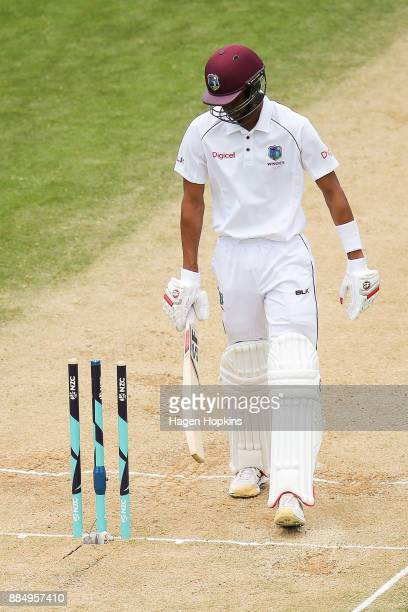 Roston Chase of the West Indies leaves the field after being dismissed during day four of the Test match series between New Zealand Blackcaps and the...
