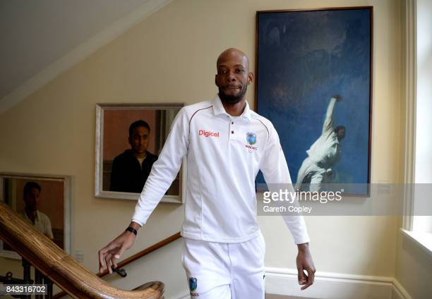 Roston Chase of the West Indies walks through the pavilion ahead of a nets session at Lord's Cricket Ground on September 6 2017 in London England