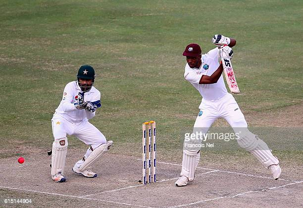 Roston Chase of West Indies bats during Day Five of the First Test between Pakistan and West Indies at Dubai International Cricket Ground on October...