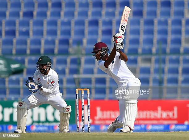 Roston Chase of West Indies bats during Day Five of the Second Test between Pakistan and West Indies at Zayed Cricket Stadium on October 25 2016 in...