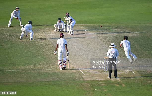 Roston Chase of West Indies bats during Day Four of the Second Test between Pakistan and West Indies at Zayed Cricket Stadium on October 24 2016 in...