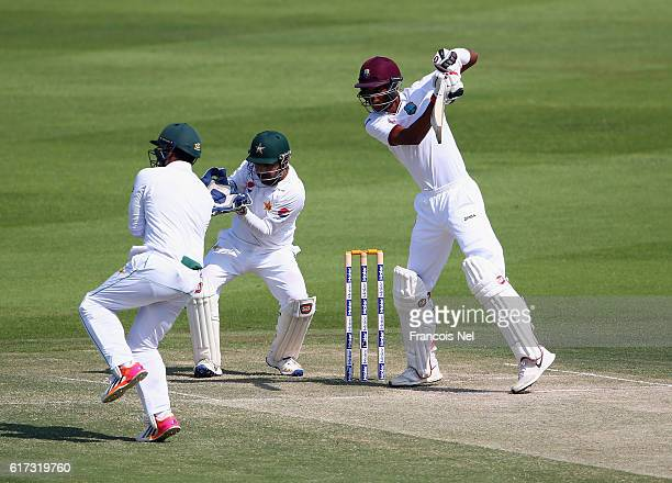 Roston Chase of West Indies bats during Day Three of the Second Test between Pakistan and West Indies at Zayed Cricket Stadium on October 23 2016 in...