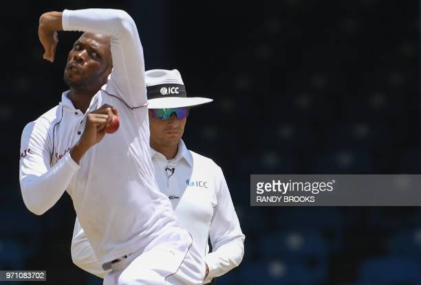 Roston Chase of West Indies bowls during day 5 of the 1st Test between West Indies and Sri Lanka at Queen's Park Oval, Port of Spain, Trinidad, on...
