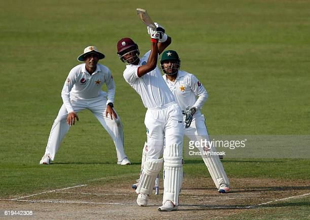 Roston Chase of West Indies brings up his 50 with a 6 on day two of the third test between Pakistan and West Indies at Sharjah Cricket Stadium on...