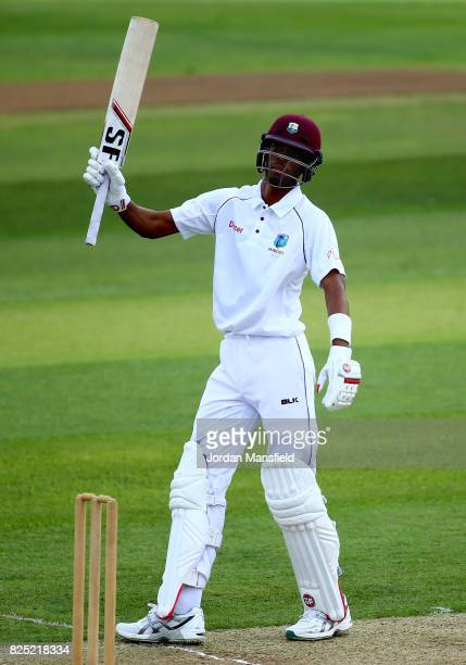 Roston Chase of West Indies celebrates his 50 during the Tour Match between Essex and West Indies at Cloudfm County Ground on August 1 2017 in...