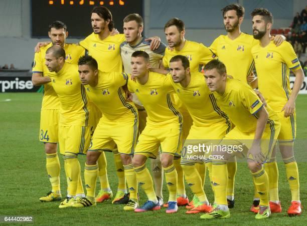 Rostov's players pose for the team photo prior to the UEFA Europa League round of 32 secondleg football match Sparta Prague v Rostov in Prague Czech...