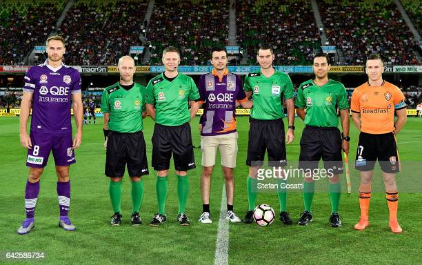 Rostyn Griffiths of the Glory and Matt McKay of the Roar before the round 20 ALeague match between Perth Glory and Brisbane Roar at nib Stadium on...