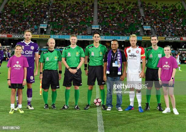 Rostyn Griffiths of the Glory and Mitch Nichols of the Wanderers before the round 21 ALeague match between the Perth Glory and Western Sydney...